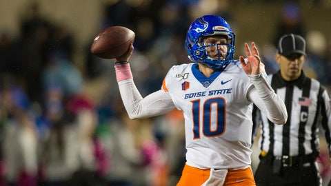 <p>               Boise State quarterback Chase Cord (10) throws a pass during the first half of the team's NCAA college football game against BYU on Saturday, Oct. 19, 2019, in Provo, Utah. (AP Photo/Tyler Tate)             </p>