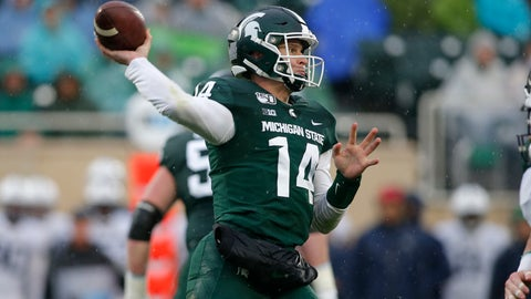<p>               Michigan State quarterback Brian Lewerke throws a pass against Penn State during the second quarter of an NCAA college football game, Saturday, Oct. 26, 2019, in East Lansing, Mich. (AP Photo/Al Goldis)             </p>