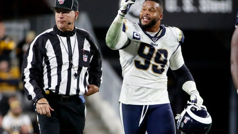 <p>               Los Angeles Rams defensive tackle Aaron Donald (99) makes his case to an official during the second half of an NFL football game against the Pittsburgh Steelers in Pittsburgh, Sunday, Nov. 10, 2019. (AP Photo/Don Wright)             </p>