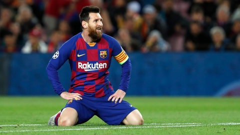 <p>               Barcelona's Lionel Messi reacts after missing a scoring chance during a Champions League Group F soccer match between Barcelona and Slavia Praha at Camp Nou stadium in Barcelona, Spain, Tuesday, Nov. 5, 2019. (AP Photo/Joan Monfort)             </p>