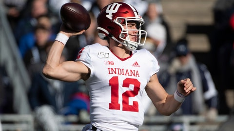 <p>               Indiana quarterback Peyton Ramsey (12) passes in the first quarter of an NCAA college football game against Penn State in State College, Pa., on Saturday, Nov. 16, 2019. (AP Photo/Barry Reeger)             </p>