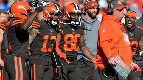 <p>               FILE - In this Sunday, Oct. 13, 2019, file photo, Cleveland Browns players encourage head coach Freddie Kitchens to throw a challenge flag during an NFL football game against the Seattle Seahawks, in Cleveland. Being a rookie head coach in the NFL is challenging enough, and also calling plays for the offense only increases the difficulty. Kitchens is finding himself criticized and second-guessed for trying to do too much halfway through his first season. (AP Photo/David Richard, File)             </p>