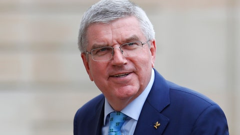 <p>               In this June 7, 2019, photo, International Olympic Committee (IOC) president Thomas Bach arrives to meet French President Emmanuel Macron at the Elysee Palace in Paris. An international trade union wants Bach to intervene and investigate alleged labor and safety violations at venues being built for next year's Tokyo Olympics. (AP Photo/Francois Mori, File)             </p>