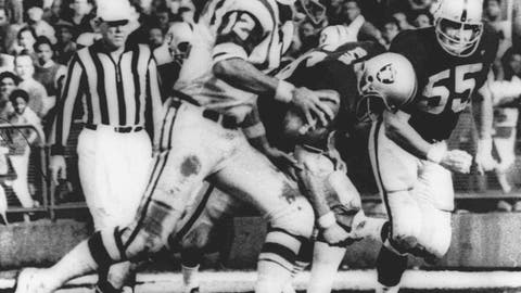 """<p>               FILE - In this Nov. 17, 1968, file photo, New York Jets' quarterback Joe Namath (12) sweeps around the right side past Oakland Raider defenders Ralph Oliver (56) and Dan Conners (55) to score from the one-yard line during the second quarter of a football game at Oakland Coliseum in Oakland, Calif. The Jets were leading 32-29 when the childrens  classic """"Heidi"""" began on NBC, interrupting the final minutes of the game which the Raiders won 43-32  in one of the most dramatic rallies in AFL history. (AP Photo/File)             </p>"""