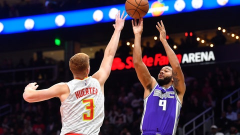 <p>               Sacramento Kings guard Cory Joseph (9) shoots as Atlanta Hawks guard Kevin Huerter (3) defends during the second half of an NBA basketball game Friday, Nov. 8, 2019, in Atlanta. The Kings won 121-109. (AP Photo/John Amis)             </p>