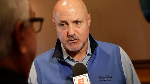 <p>               Washington Nationals general manager Mike Rizzo speaks during a media availability during the Major League Baseball general managers annual meetings Tuesday, Nov. 12, 2019, in Scottsdale, Ariz. (AP Photo/Matt York)             </p>