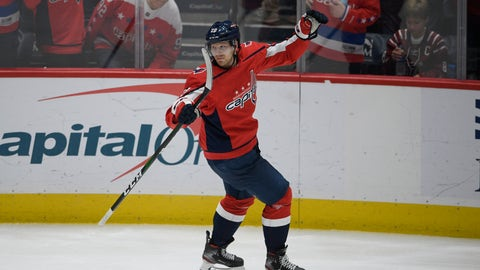 <p>               Washington Capitals center Lars Eller (20), of Denmark, celebrates his goal during the third period of an NHL hockey game against the Florida Panthers, Wednesday, Nov. 27, 2019, in Washington. The Capitals won 4-3. (AP Photo/Nick Wass)             </p>