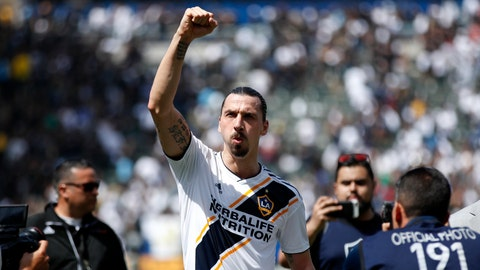 <p>               FILE - In this March 31, 2018 file photo Los Angeles Galaxy's Zlatan Ibrahimovic, of Sweden, acknowledges fans as he walks off the field after an MLS soccer match against the Los Angeles FC in Carson, Calif. Ibrahimovic and the LA Galaxy both announced Wednesday, Nov. 13, 2019 they are officially parting ways after two seasons. (AP Photo/Jae C. Hong, file)             </p>