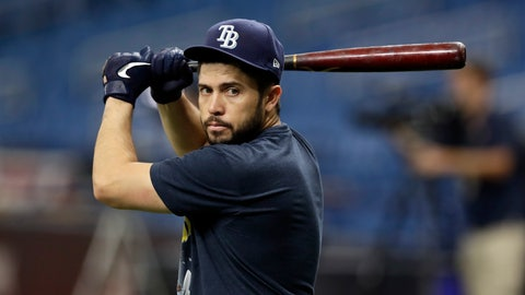 <p>               FILE - In this Oct. 8, 2019 file photo Tampa Bay Rays catcher Travis d'Arnaud waits to take batting practice before Game 4 of a baseball American League Division Series against the Houston Astros in St. Petersburg, Fla. The Atlanta Braves have filled another hole by signing d'Arnaud to a $16 million, two-year contract. His signing with the Braves was announced Sunday, Nov. 24, 2019. (AP Photo/Chris O'Meara)             </p>
