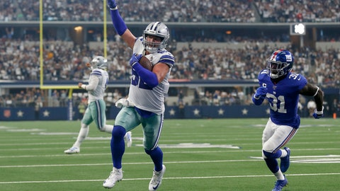 <p>               FILE - In this Sept. 8, 2019 file photo, Dallas Cowboys tight end Jason Witten (82) celebrates catching a touchdown pass as New York Giants defensive back Michael Thomas (31) defends in the first half of a NFL football game in Arlington, Texas. Witten is returning to Monday Night Football in his more accustomed role as the Dallas Cowboys' tight end and not a television analyst for the ESPN production. Witten didn't know if ESPN asked to have him miked for the game, but wanted no part of it. He said he has done it before and he didn't like. His focus this week is to help the Cowboys build for their big win over the Eagles two weeks ago. (AP Photo/Ron Jenkins, File)             </p>