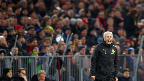<p>               Dortmund's head coach Lucien Favre gives instructions to his players during the German Bundesliga soccer match between FC Bayern Munich and Borussia Dortmund, in Munich, Germany, Saturday, Nov. 9, 2019. (AP Photo/Matthias Schrader)             </p>