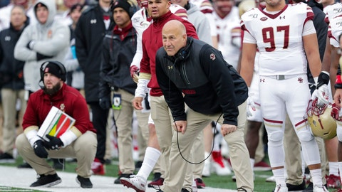 <p>               Boston College head coach Steve Addazio watches his team from the sideline as his team played against Notre Dame during the first half of an NCAA college football game in South Bend, Ind., Saturday, Nov. 23, 2019. Notre Dame defeated Boston College 40-7. (AP Photo/Michael Conroy)             </p>
