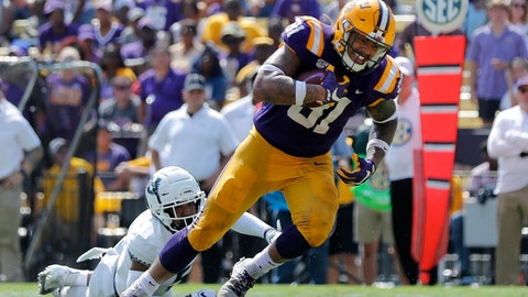 <p>               FILE - In this Oct. 5, 2019, file photo, LSU tight end Thaddeus Moss (81) carries on a touchdown reception in the second half of an NCAA college football game against Utah State in Baton Rouge, La. Moss, the son of Hall of Fame receiver Randy Moss, resembles his father in several ways. But he is also distinguishing himself by the way he's grown into his role as a tight end for the No. 1 Tigers. (AP Photo/Bill Feig, File)             </p>