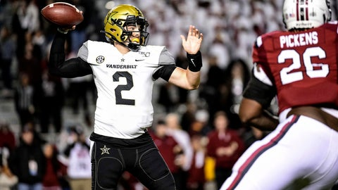 <p>               Vanderbilt quarterback Deuce Wallace (2) attempts a pass during the second half of an NCAA college football game against South Carolina, Saturday, Nov. 2, 2019, in Columbia, S.C. (AP Photo/Sean Rayford)             </p>