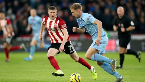 <p>               Sheffield United's John Lundstram, left, and Burnley's Charlie Taylor battle for the ball during the English Premiership League soccer match at Bramall Lane, Sheffield, England, Saturday Nov. 2, 2019. (Danny Lawson/PA via AP)             </p>