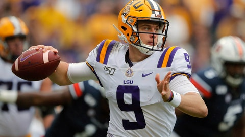 <p>               FILE - In this Oct. 26, 2019, file photo, LSU quarterback Joe Burrow (9) scrambles in the first half of an NCAA college football game against the Auburn, in Baton Rouge, La. For the first time in college football history, there will be two games matching teams of at least 8-0 on the same day, according to ESPN Facts and Info. In Tuscaloosa, Alabama, LSU and the Crimson Tide will play the first regular-season game matching AP Nos. 1 and 2 since 2011 _ when No. 1 LSU beat No. 2 Alabama 9-6 in overtime. (AP Photo/Gerald Herbert, File)             </p>