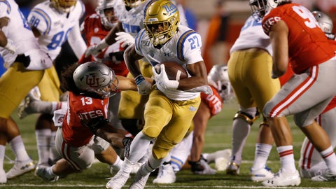 <p>               UCLA running back Joshua Kelley (27) carries the ball during the first half of the team's NCAA college football game against Utah on Saturday, Nov. 16, 2019, in Salt Lake City. (AP Photo/Rick Bowmer)             </p>