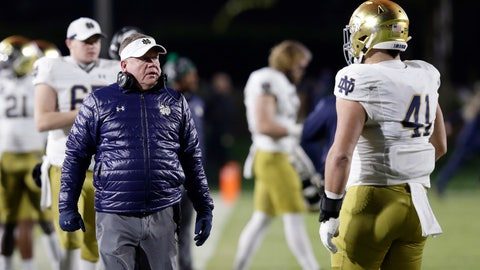 <p>               Notre Dame head coach Brian Kelly speaks with Notre Dame defensive lineman Kurt Hinish (41) during the first half of an NCAA college football game against Duke in Durham, N.C., Saturday, Nov. 9, 2019. (AP Photo/Gerry Broome)             </p>