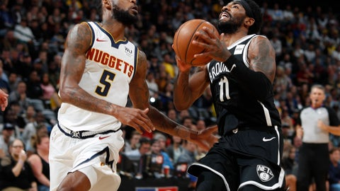 <p>               Denver Nuggets forward Will Barton left, defends as Brooklyn Nets guard Kyrie Irving drives to the rim in the second half of an NBA basketball game Thursday, Nov. 14, 2019 in Denver. The Nuggets won 101-93. (AP Photo/David Zalubowski)             </p>
