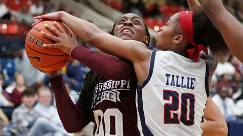<p>               Mississippi State guard Jayla Hemingway (00) has her shot blocked by Jackson State guard J'Niya Tallie (20) during the second half of an NCAA college basketball game Thursday, Nov. 21, 2019, in Jackson, Miss. Mississippi State won 92-53. (AP Photo/Rogelio V. Solis)             </p>