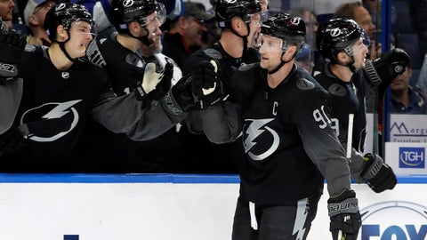<p>               Tampa Bay Lightning center Steven Stamkos (91) celebrates with the bench after his goal against the Winnipeg Jets during the third period of an NHL hockey game Saturday, Nov. 16, 2019, in Tampa, Fla. (AP Photo/Chris O'Meara)             </p>