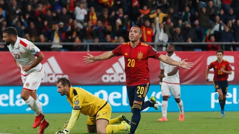 <p>               Spain's Santi Cazorla celebrates after scoring his side's second goal during a Euro 2020 Group F qualifying soccer match between Spain and Malta at the Ramon de Carranza stadium in Cadiz, Spain, Friday Nov. 15, 2019. (AP Photo/Miguel Morenatti)             </p>
