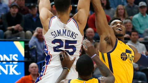 <p>               Philadelphia 76ers guard Ben Simmons (25) pulls down a rebound as Utah Jazz's Donovan Mitchell, right, and Royce O'Neale (23) defends in the first half during an NBA basketball game Wednesday, Nov. 6, 2019, in Salt Lake City. (AP Photo/Rick Bowmer)             </p>