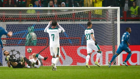 <p>               Juventus' Douglas Costa, right, celebrates after scoring his side's second goal during the Champions League Group D soccer match between Lokomotiv Moscow and Juventus at the Lokomotiv Stadium in Moscow, Russia, Wednesday, Nov. 6, 2019. (AP Photo/Alexander Zemlianichenko)             </p>
