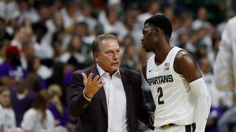 <p>               Michigan State head coach Tom Izzo talks with guard Rocket Watts Jr. (2) during the first half of an NCAA college exhibition basketball game against Albion, Tuesday, Oct. 29, 2019, in East Lansing, Mich. (AP Photo/Carlos Osorio)             </p>