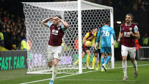 <p>               Burnley's Ashley Barnes celebrates scoring his side's second goal during the English Premier League soccer match between Burnley and Watford, at Vicarage Road, Watford, England, Saturday, Nov. 23, 2019. (Nigel French/PA via AP)             </p>