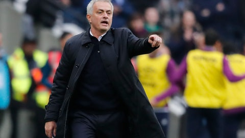 <p>               Tottenham's manager Jose Mourinho calls out to his players during the English Premier League soccer match between West Ham and Tottenham, at London stadium, in London, Saturday, Nov. 23, 2019.(AP Photo/Frank Augstein)             </p>