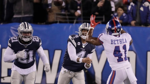 <p>               New York Giants free safety Antoine Bethea (41) intercepts a pass from Dallas Cowboys quarterback Dak Prescott (4) during the first quarter of an NFL football game, Monday, Nov. 4, 2019, in East Rutherford, N.J. (AP Photo/Adam Hunger)             </p>