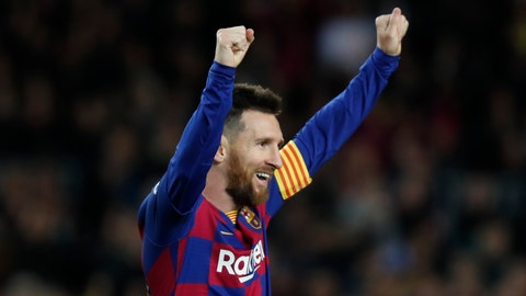 <p>               Barcelona's Lionel Messi celebrates after his team scored his side's fourth goal during a Spanish La Liga soccer match between Barcelona and Celta at Camp Nou stadium in Barcelona, Saturday, Nov. 9, 2019. (AP Photo/Joan Monfort)             </p>