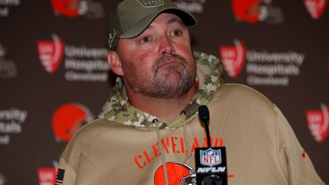 <p>               FILE - In this Sunday, Nov. 3, 2019, file photo, Cleveland Browns head coach Freddie Kitchens speaks after an NFL football game against the Denver Broncos, in Denver. Cleveland dropped its fourth straight game Sunday, losing 24-19 to the Broncos. (AP Photo/David Zalubowski, FIle)             </p>
