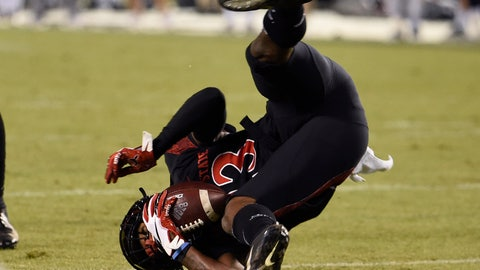 <p>               San Diego State cornerback Darren Hall (23) flips as he intercepts a pass during the first half of a college football game against Nevada Saturday, Nov. 9, 2019, in San Diego. CA. (AP Photo/Denis Poroy)             </p>