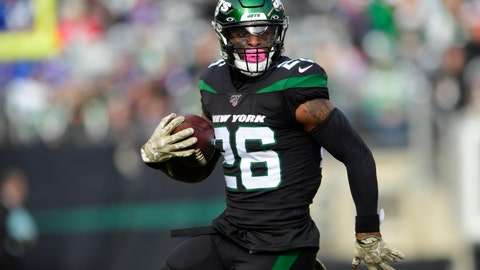 <p>               New York Jets' Le'Veon Bell (26) rushes during the first half of an NFL football game against the New York Giants, Sunday, Nov. 10, 2019, in East Rutherford, N.J. (AP Photo/Steven Ryan)             </p>