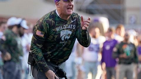 <p>               Kansas State head coach Chris Klieman argues a call during the second half of an NCAA college football game against Texas in Austin, Texas, Saturday, Nov. 9, 2019. (AP Photo/Chuck Burton)             </p>