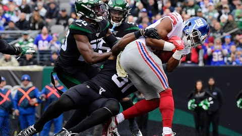 <p>               New York Giants' Darius Slayton runs past New York Jets' Marcus Maye (20) for a touchdown during the first half of an NFL football game Sunday, Nov. 10, 2019, in East Rutherford, N.J. (AP Photo/Steven Ryan)             </p>