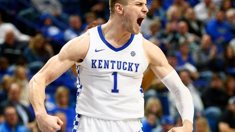 <p>               Kentucky's Nate Sestina reacts after scoring during the second half of an NCAA college basketball game against Mount St. Marys in Lexington, Ky., Friday, Nov. 22, 2019. Kentucky won 82-62. (AP Photo/James Crisp)             </p>