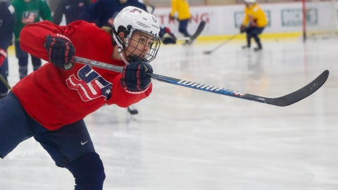<p>               In this Monday, Nov. 4, 2019, photo, Alexandra Carpenter goes through drills while playing with the U.S. Women's National hockey team in Cranberry Township, Butler County, Pa., ahead of scheduled exhibition games against Canada. Carpenter, college hockey's top player in 2015 and daughter of former NHL star Bobby Carpenter, is also leading Russia's Women's Hockey League in scoring while playing for the Chinese-based Shenzhen KRS Vanke Rays. (AP Photo/Keith Srakocic)             </p>