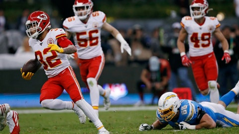 <p>               Kansas City Chiefs strong safety Tyrann Mathieu, right, runs after an interception during the first half of an NFL football game against the Los Angeles Chargers, Monday, Nov. 18, 2019, in Mexico City. (AP Photo/Rebecca Blackwell)             </p>