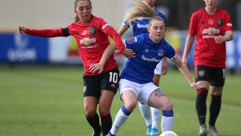 <p>               Everton's Lucy Graham, right, and Manchester United's Katie Zelem battle for the ball during the FA Women's Continental League Cup match at Haig Avenue, Liverpool, England, Sunday Nov. 3, 2019. (Nigel French/PA via AP)             </p>