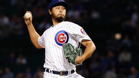 <p>               FILE - In this Sept. 17, 2019, file photo, Chicago Cubs starting pitcher Yu Darvish delivers during the first inning of a baseball game against the Cincinnati Reds, in Chicago. Starting pitcher Darvish and outfielder Jason Heyward are staying with the Chicago Cubs, who exercised their $11.5 million option for 2020 on left-hander José Quintana on Saturday, Nov. 2, and declined their $6.5 million option on lefty Derek Holland, which triggered a $500,000 buyout.(AP Photo/Charles Rex Arbogast, File)             </p>