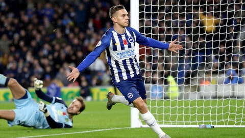 <p>               Brighton and Hove Albion's Leandro Trossard celebrates scoring against Norwich City during the English Premiership League soccer match at The AMEX Stadium, Brighton, England, Saturday Nov. 2, 2019. (Gareth Fuller/PA via AP)             </p>