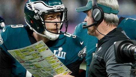 """<p>               FILE - In this Feb. 4, 2018, file photo, Philadelphia Eagles head coach Doug Pederson, right, talks to Nick Foles during the first half of the NFL Super Bowl 52 football game against the New England Patriots, in Minneapolis. Facing the mighty New England Patriots on the NFL's biggest stage, Philadelphia Eagles coach Doug Pederson's decision to try a trick play _ the """"Philly Special"""" _ on a fourth down late in the first half of Super Bowl 52 will be remembered as one of the gutsiest calls in sports history. That signature moment between Foles and Pederson standing on the sideline discussing the play was turned into a bronze statue that sits outside the team's stadium as a reminder of the greatest play in franchise history. (AP Photo/Matt York, File)             </p>"""