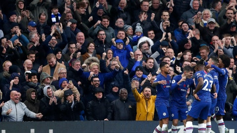 <p>               Chelsea's Christian Pulisic celebrates with teammates after scoring his sides second goal during their English Premier League soccer match between Chelsea and Crystal Palace at Stamford Bridge stadium in London, Saturday, Nov. 9, 2019. (AP Photo/Alastair Grant)             </p>