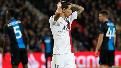 <p>               PSG's Angel Di Maria reacts during a Champions League group A soccer match between Paris Saint Germain and Club Brugge, at the Parc des Princes stadium, in Paris, Wednesday, Nov. 6, 2019. (AP Photo/Thibault Camus)             </p>