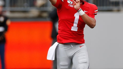 <p>               Ohio State quarterback Justin Fields throws a pass against Maryland during the first half of an NCAA college football game, Saturday, Nov. 9, 2019, in Columbus, Ohio. (AP Photo/Jay LaPrete)             </p>