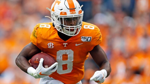 <p>               Tennessee running back Ty Chandler (8) runs for yardage in the first half of an NCAA college football game against South Carolina, Saturday, Oct. 26, 2019, in Knoxville, Tenn. (AP Photo/Wade Payne)             </p>