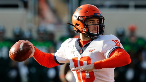<p>               Illinois quarterback Brandon Peters throws during the first half of an NCAA college football game against Michigan State, Saturday, Nov. 9, 2019, in East Lansing, Mich. (AP Photo/Carlos Osorio)             </p>
